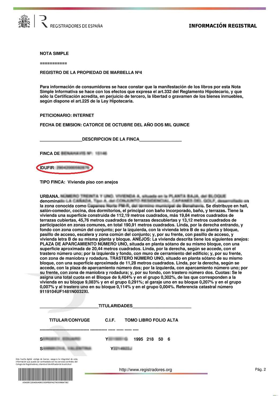 Idufir nota simple - Registro propiedad cuellar ...