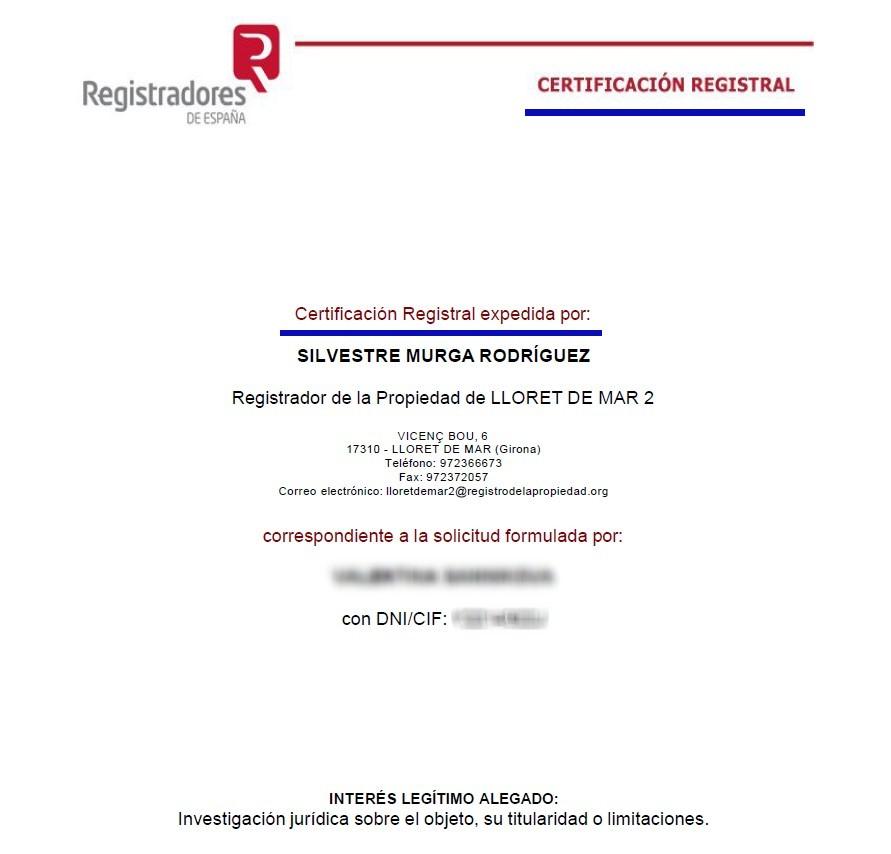 Как выглядит Certificación de dominio y cargas